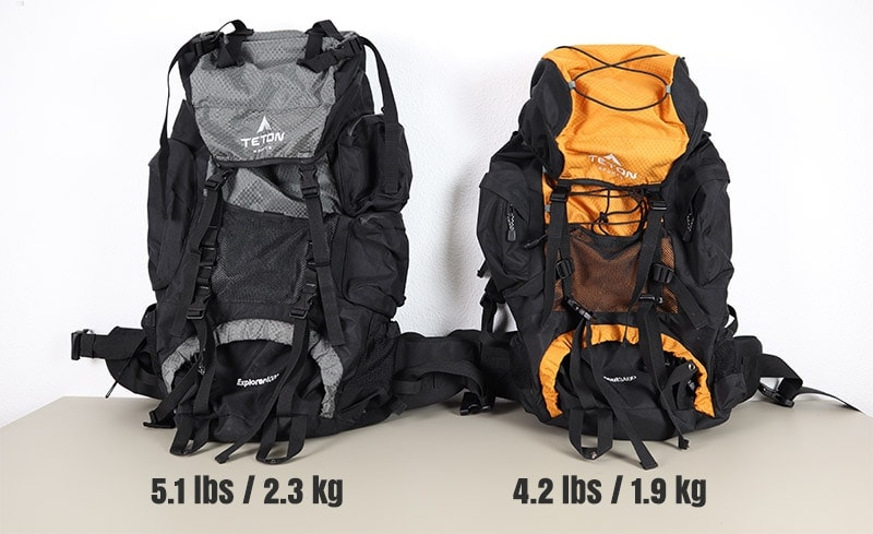 Comparing the weight between the Teton Sports Explorer 4000 and the Scout 3400