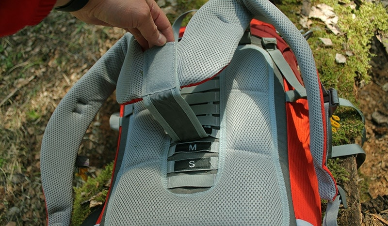 Adjustable torso length on the Mountaintop backpack