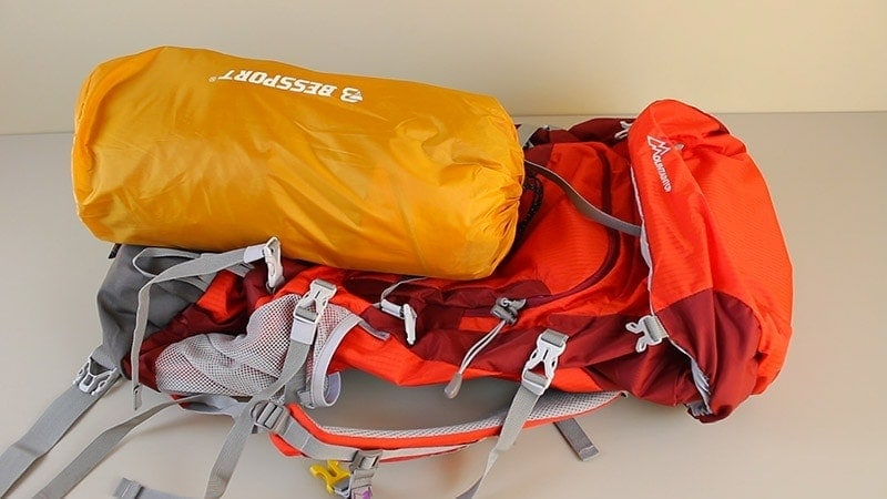 Bessport 2-person tent compared to a 55 liter backpack