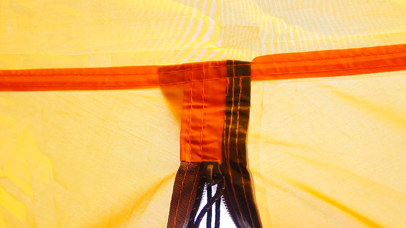 Thermally sealed seams on the Bessport tent