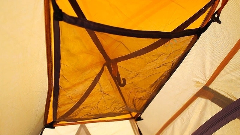 The fabric mesh panel on the tent interior