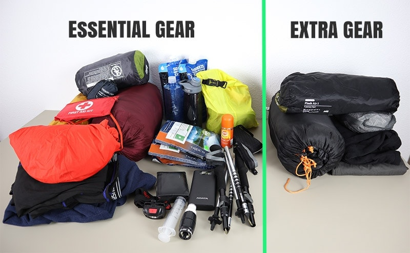 Hiking gear laid out on a table