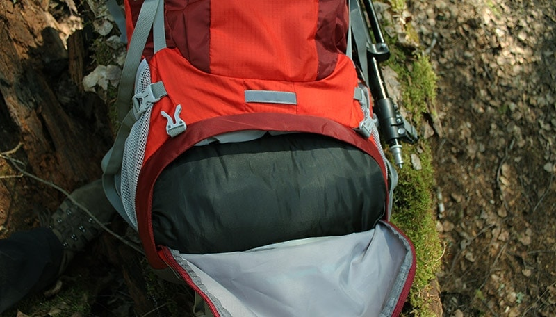 Bottom sleeping bag compartment on the Mountaintop backpack