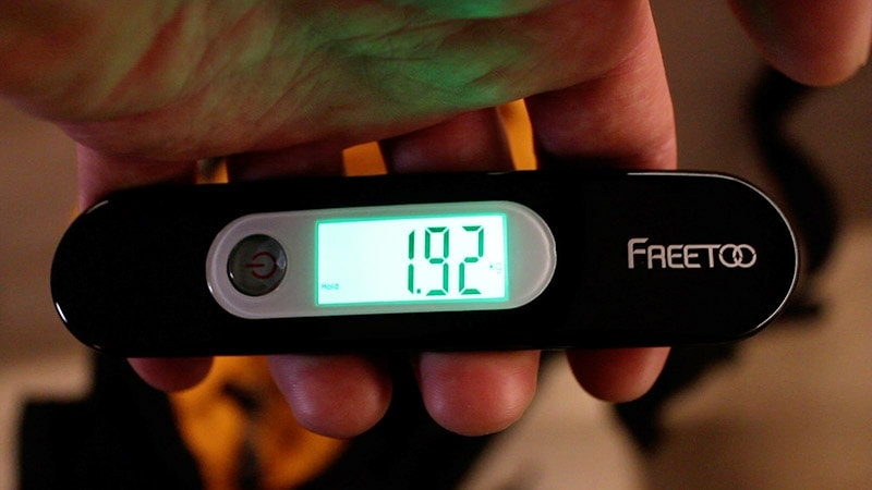 Weighing the Teton Sports Scout 3400 with a luggage scale