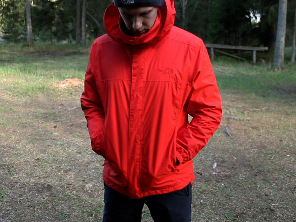Man Wearing Red North Face Resolve 2 Rain Jacket