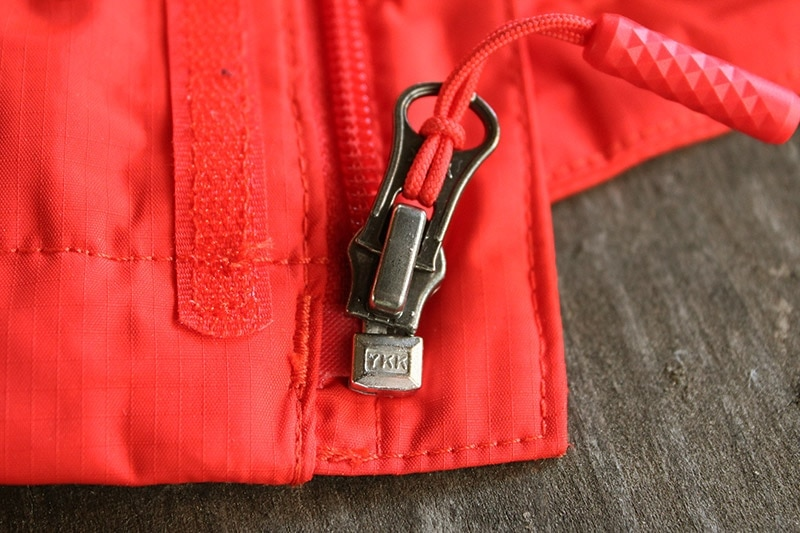 YKK zippers on the North Face Resolve 2 rain jacket
